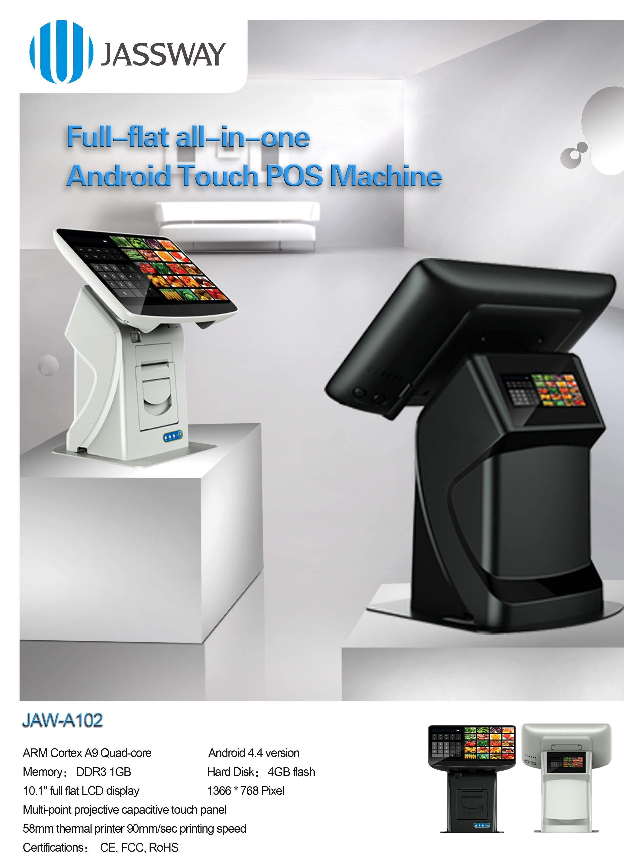 Jassway newly android pos terminal with customer display